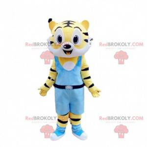Yellow and white tiger mascot, feline costume, ferocious animal