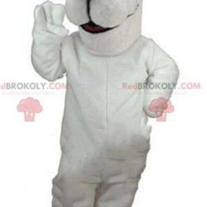 White teddy bear mascot, white bear costume, polar animal -