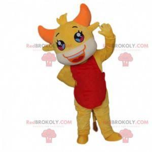 Gelbes Tiger Maskottchen, gelbes Tierkostüm, gelbes Kostüm -