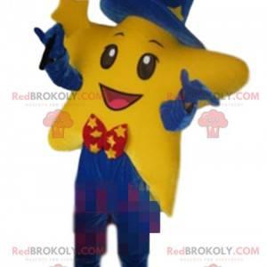 Mascote estrela gigante vestida de mágico, fantasia de mágico -