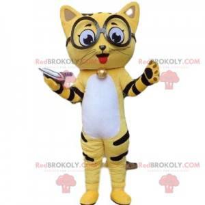 Maskot žluté kočky, kočičí kostým, kočičí převlek -