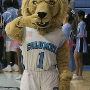 Maskot hnědý lev ve sportovním oblečení - Redbrokoly.com