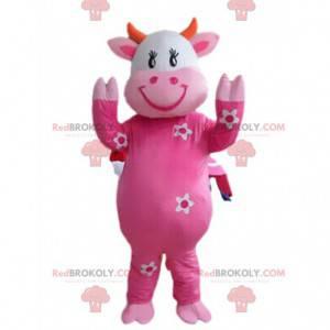 Růžový kráva maskot s květinami, kráva kostým - Redbrokoly.com