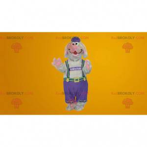 Gray and pink dog mascot in overalls - Redbrokoly.com