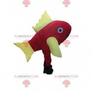 Gigantisk rød og gul fiskemaskot, April Fools kostyme -