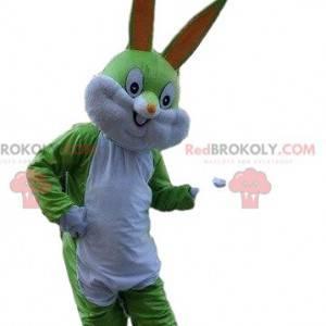 Maskot zelený králík, zelené zvíře, maskot Bugs Bunny -