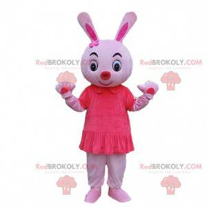 Pink rabbit mascot, rodent costume, pink animal - Redbrokoly.com