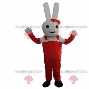 Maskot bílý králík oblečený v červeném kostýmu králíka -