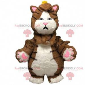 Stor brun og hvit kattemaskot, oppblåsbar kostyme -
