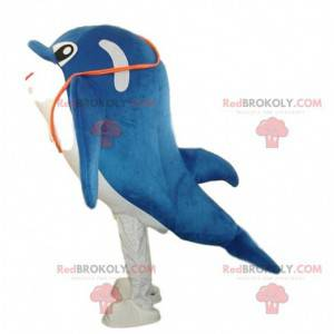 White and blue dolphin mascot, whale costume - Redbrokoly.com