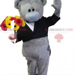 Graues Teddybär-Maskottchen, Bärenkostüm, elegante Verkleidung