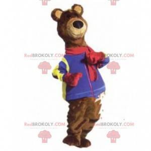 Maskot medvěd hnědý, kostým hnědého zimního medvídka -