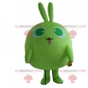 Maskot zelený králík, malý kulatý kostým monstrum -