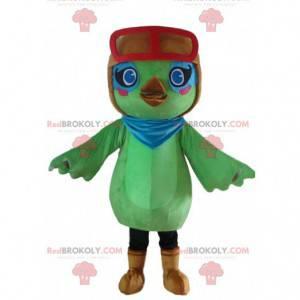 Grünes Vogel Maskottchen, Flieger Kostüm, grünes Tier -