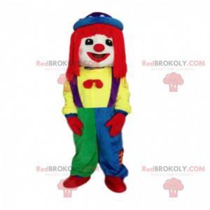 Mascote palhaço multicolorido, desfiles de fantasias -