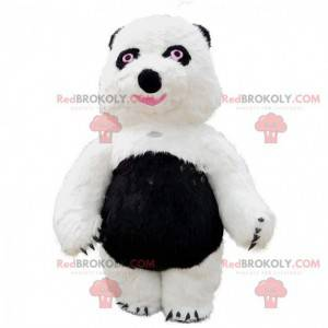 Big white and black teddy bear mascot, panda costume -