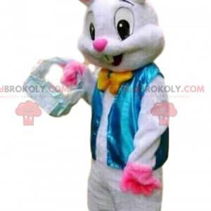 Elegantes weißes Kaninchenmaskottchen, Kaninchenkostüm -