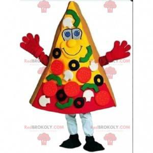 Gigantische pizzaplakkostuum, pizza-mascotte, pizzeria -