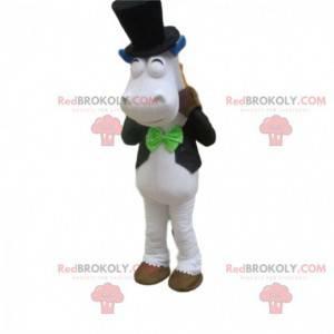 White horse mascot, equestrian costume, horse riding mascot -