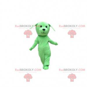 Green dog mascot, doggie costume, green disguise -