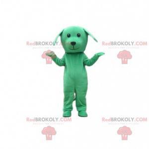 Grünes Hundekostüm, Hundemaskottchen, grüne Verkleidung -