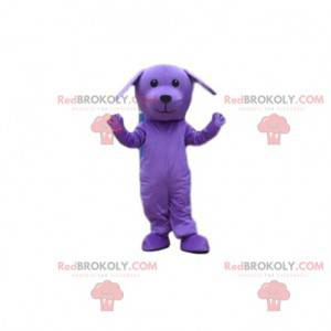 Purple dog mascot, purple costume, purple animal -