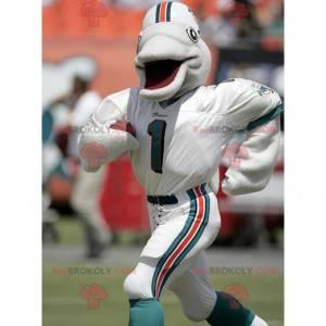 Gray dolphin mascot in sportswear - Redbrokoly.com
