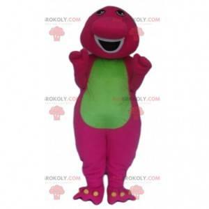 Rosa und grünes Dinosauriermaskottchen, buntes Drachenkostüm -