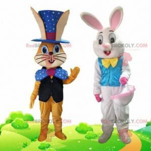 2 maskoti králíků oblečeni ve slavnostním oblečení -