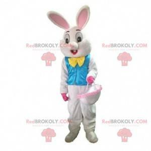 Maskot bílého králíka s modrou vestou, velikonoční kostým -