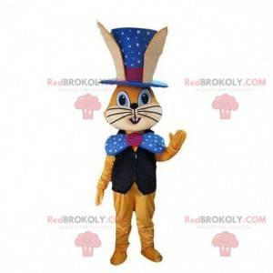Oranžový králík maskot v kouzelnické oblečení, kouzelný kostým