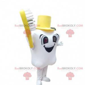 Obří zub maskot s kartáček na zuby, zubař kostým -