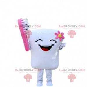 Laughing tooth mascot with a toothbrush, dentist costume -