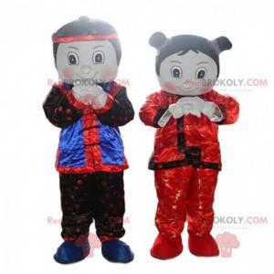 2 mascots, a boy and a girl, 2 Asian characters - Redbrokoly.com