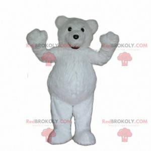 Hvit bamse maskot, hvit bjørn kostyme, polar dyr -