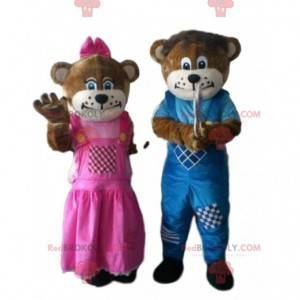 2 brown bear mascots, one male and one female - Redbrokoly.com