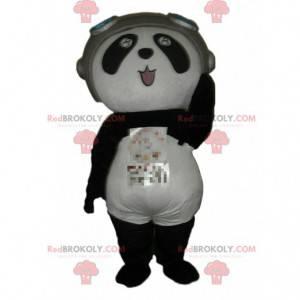 Maskot Panda v leteckém oblečení, kostým medvěda -