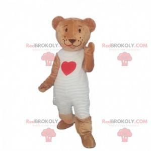 Teddybär Maskottchen mit Herz, romantisches Kostüm -