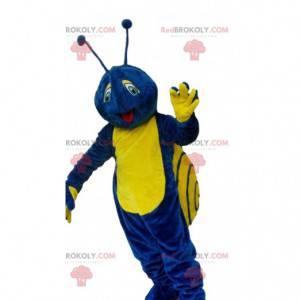 Modré a žluté hlemýžď maskot, barevný kostým hmyzu -