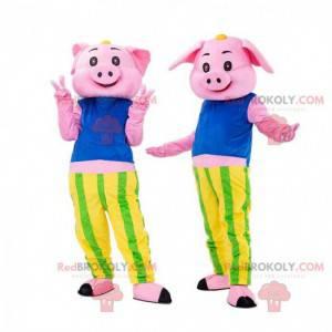 2 rosa Schweine, Schweinekostüme, Schweinepaar - Redbrokoly.com