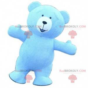 Großes blaues Teddybärmaskottchen, blaues Bärenkostüm -