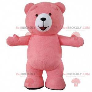 Maskot velký růžový medvěd, kostým růžového medvídka -