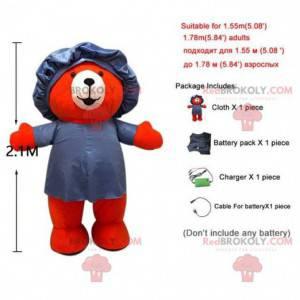 Maskot červený medvídek s plaveckou čepicí, kostým medvěda -