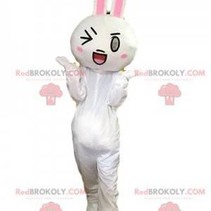 Biały królik maskotka, kostium wink, gigantyczny królik -