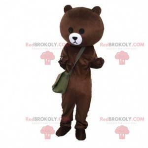 Bärenmaskottchen mit einer Tasche, Teddybärkostüm -