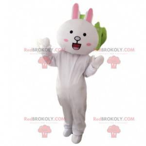 Obří maskot bílého králíka, kostým plyšového zajíčka -