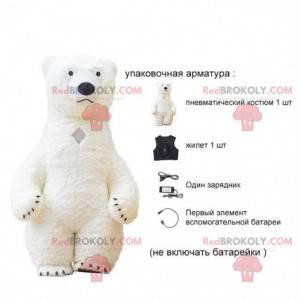 Nafukovací maskot bílý medvídek, kostým ledního medvěda -
