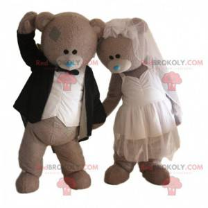 2 maskoti nevěsty a ženicha, pár medvědů, svatební maskot -
