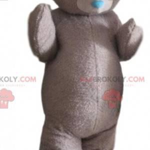Gray teddy bear mascot, bear costume, elegant disguise -