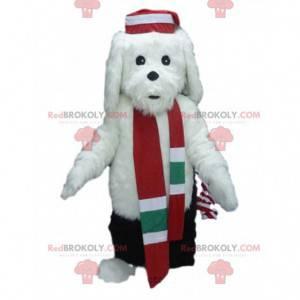 Weißes Hundemaskottchen im Winteroutfit, Winterkostüm -